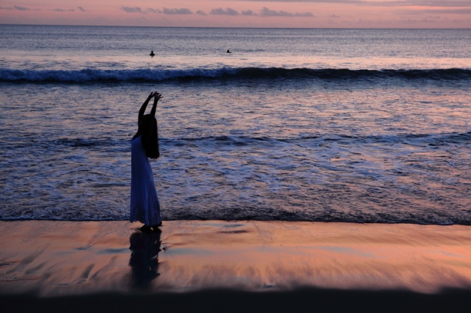 sunset, sea, dancer, grace, reflection, gown